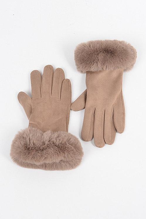 Khaki fur Gloves