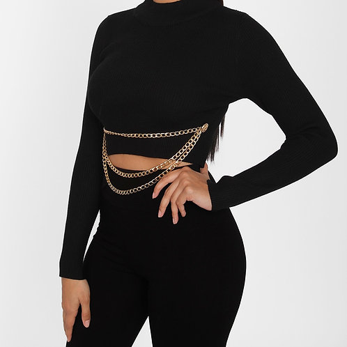 Black Ribbed Chain Crop Top
