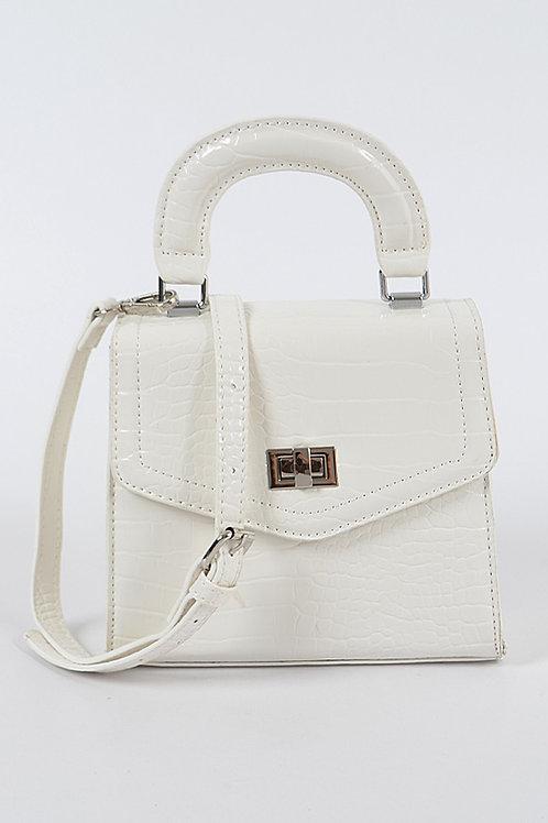 White Snakeskin Babe Bag