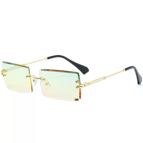 Yellow Pink Rimless Glasses