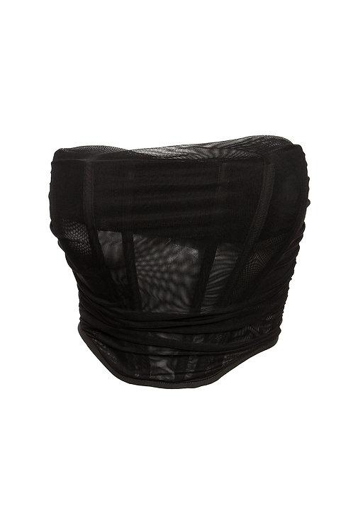 Black Mesh Strapless Corset Top