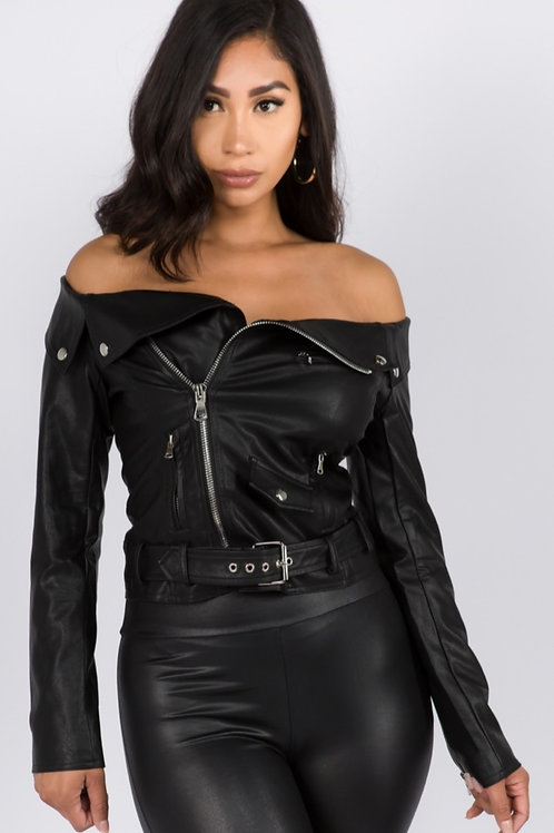 Off the Shoulder Leather Jacket
