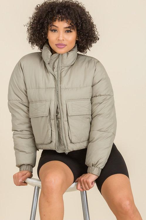 Sage Cropped Puffer Jacket