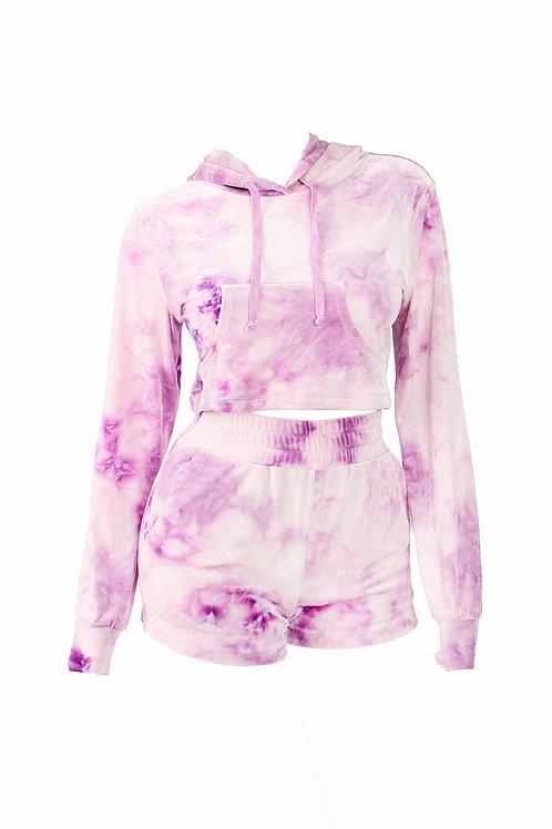 Lavender Tye-Dye Hoodie Short Set