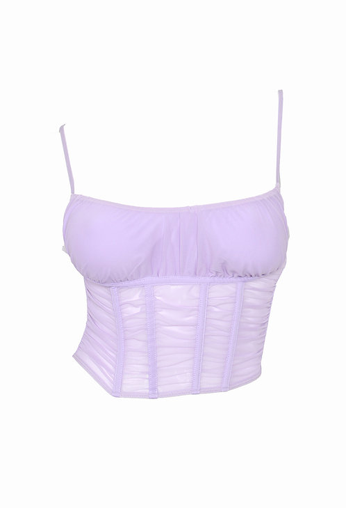 Lavender Mesh Ruched Cage Corset