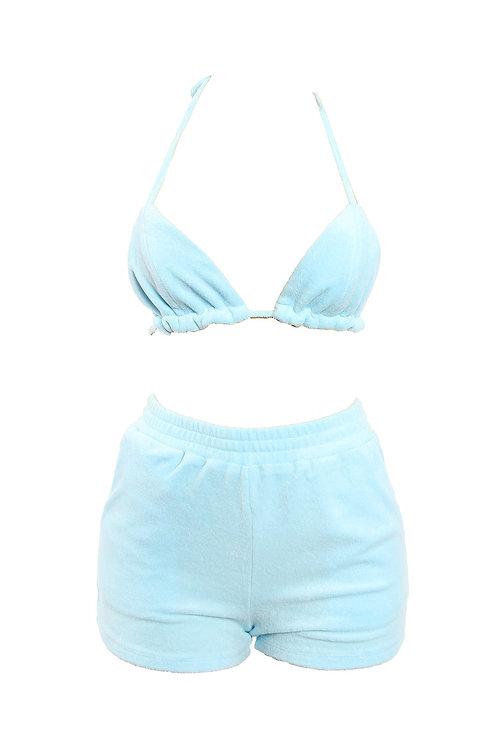 Baby Blue Bikini Short Set