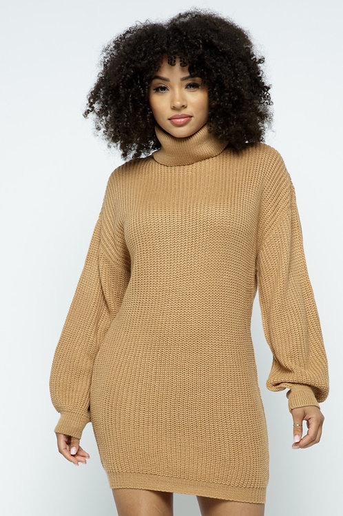 Sand Turtle Neck Knit Dress