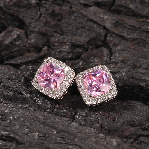 Pink Silver Royal Earrings