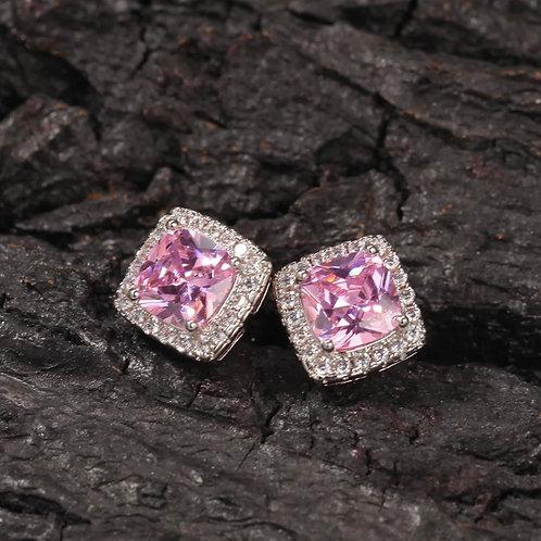 Pink Silver Royal Earrings