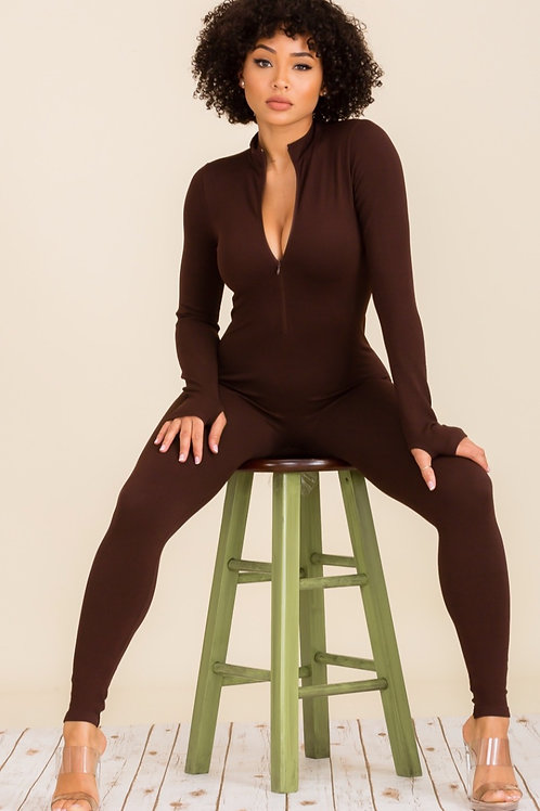 Zipper Long Sleeve Jumpsuit