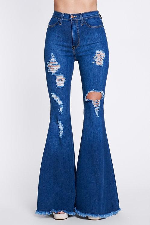 Dark Blue High Waisted Bell Bottom Jeans