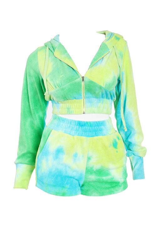 Green Tye-Dye Zip- Up Short Set