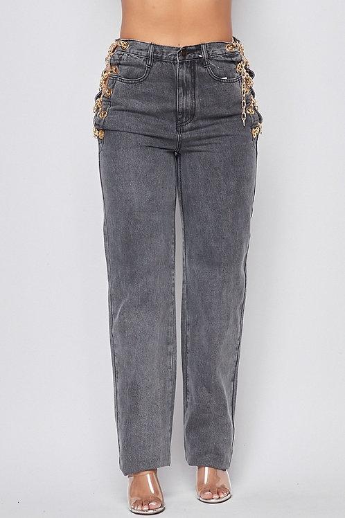 Zabella Grey Chain Jeans
