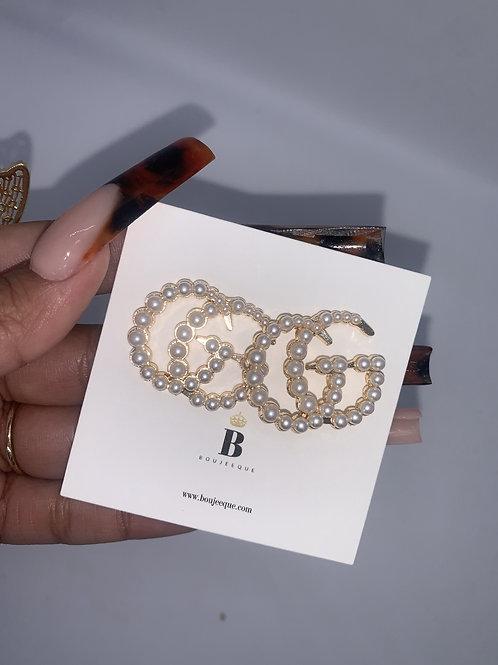 Gold Pearled GG Inspired Earrings