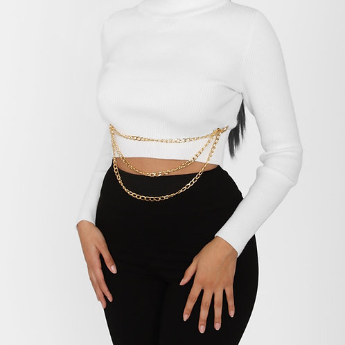 White Ribbed Chain Crop Top