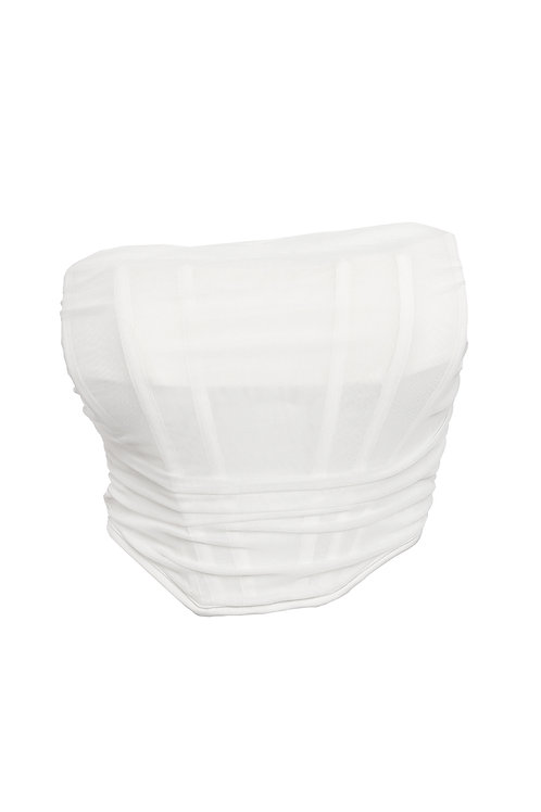 White Mesh Strapless Corset Top