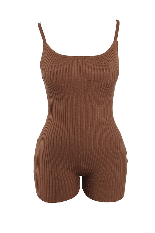 Coffee Rib Open Romper