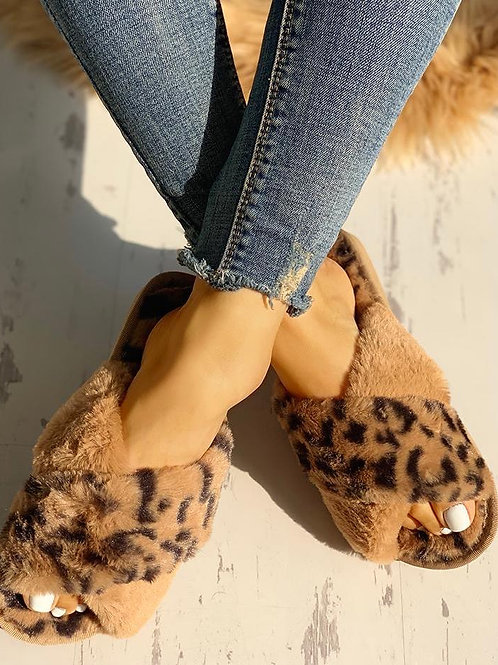 Fluffy Brown Leopard Slippers