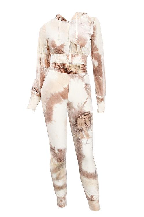 Taupe Tye-Dye Velour Lyha Pant Set
