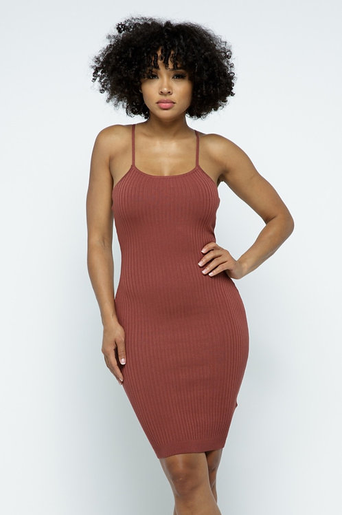 Mauve Body String Knit Dress
