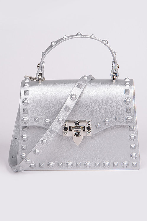 Royalty Silver Studded Bag