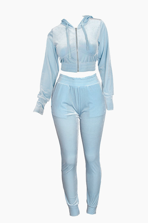 Baby Blue Velour Lyha Pant Set