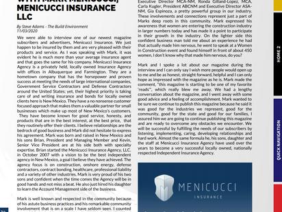 Menicucci Insurance Featured In Construction Reporter Magazine