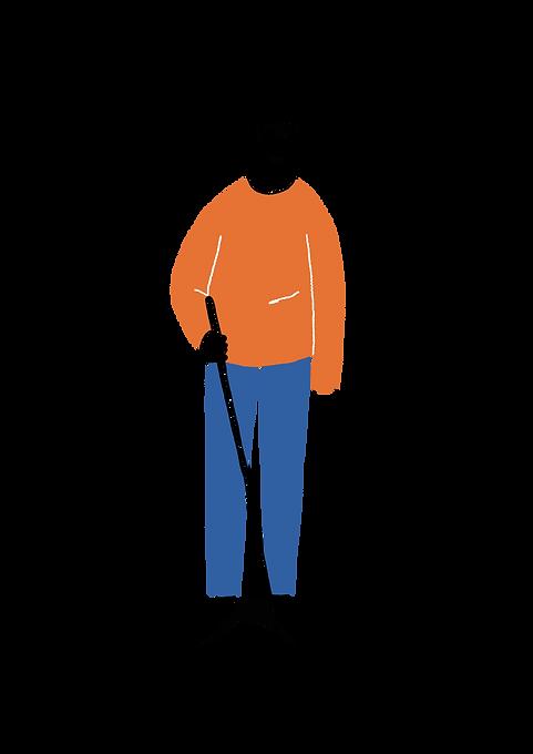 Postava nevidomého muže s bílou holí zepředu
