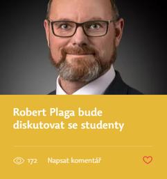 Robert Plaga bude diskutovat se studenty