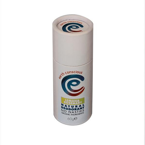 Earth Conscious Natural Deodorant Stick - Lemon & Rosemary 60g