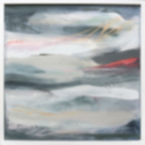 In Pink, Miranda Carter, Abstract painting, Calming greys, a hint of pink