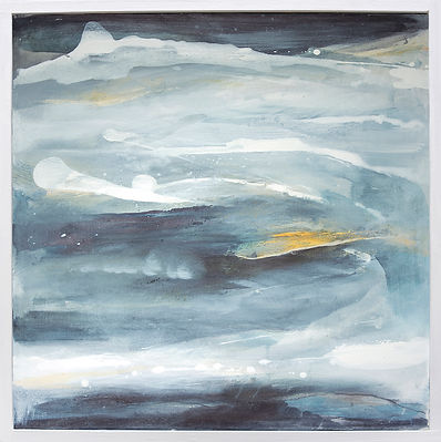 Miranda Carter, Imagining, Abstract painting, deep blue black and mustard, underwater, sea painting, modern landscape