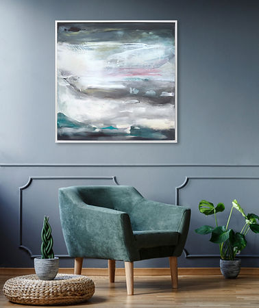Blue Black Symphony I, contemporary art, abstract painting, large canvas