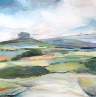 OUTWARD. 2021 (SOLD) 100 x 100 cm, acrylic & mixed media on canvas