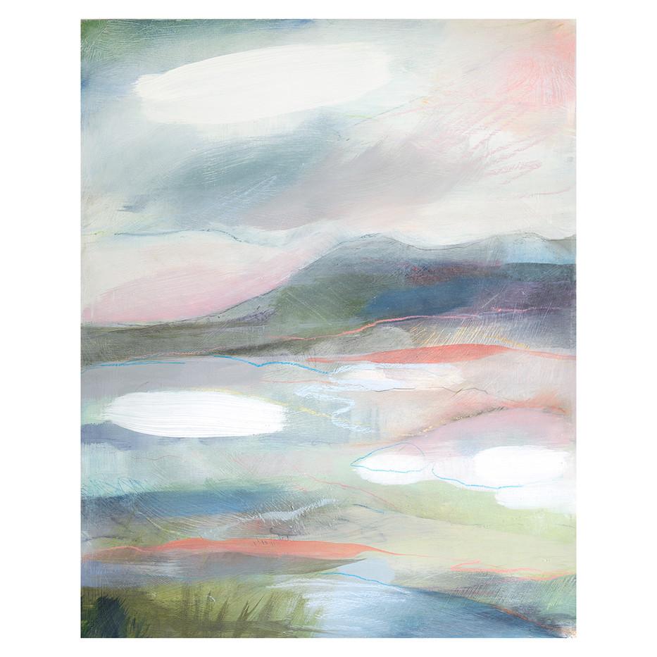 SILENCE I. 2020 50 x 40 cm, acrylic, ink & pastel on wood panel Unframed£200