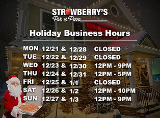 Business holiday hours 2021 Strawberrys