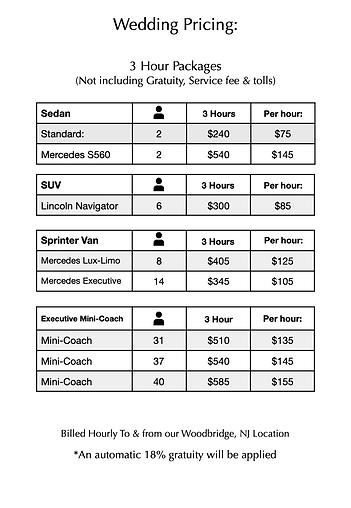 wedding transportation pricing gem limo.