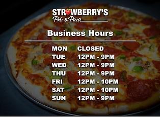 Strawberrys Pub Business hours April 202