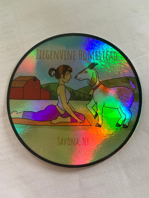 Iridescent Goat Yoga Sticker