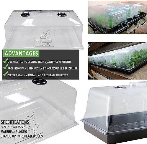 """7"""" Tall - 1020 Tray Propagation Dome with Air Vents"""
