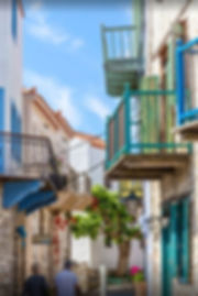 Balconies of old houses in Alonissos
