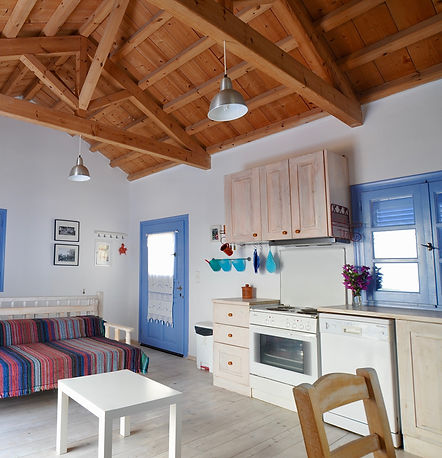 Open plan, beach hut style interior of a