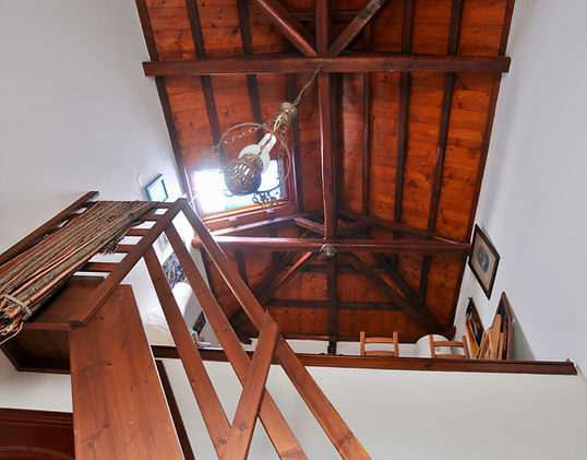 wooden ceiling and stairs