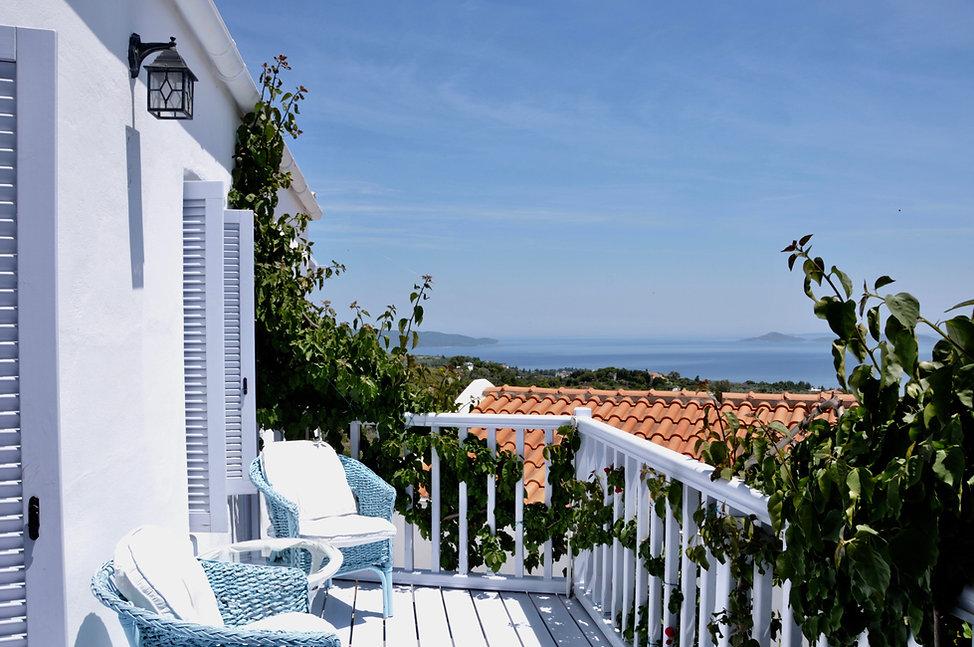 Lovely side balcony of villa Athena.