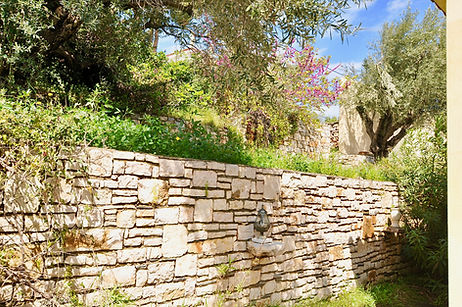 Stone wall cladding.