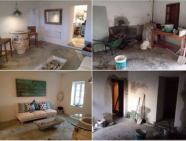 Refurbishment of houses on Alonissos. Interior before and after photos of a village house.