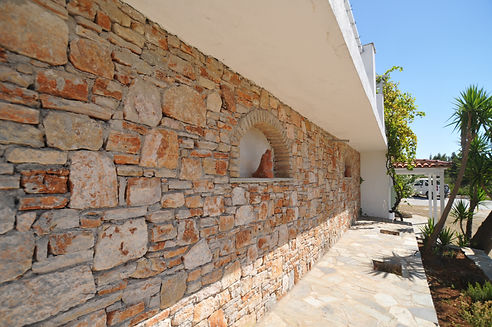 Stonework of a villa in Greece.