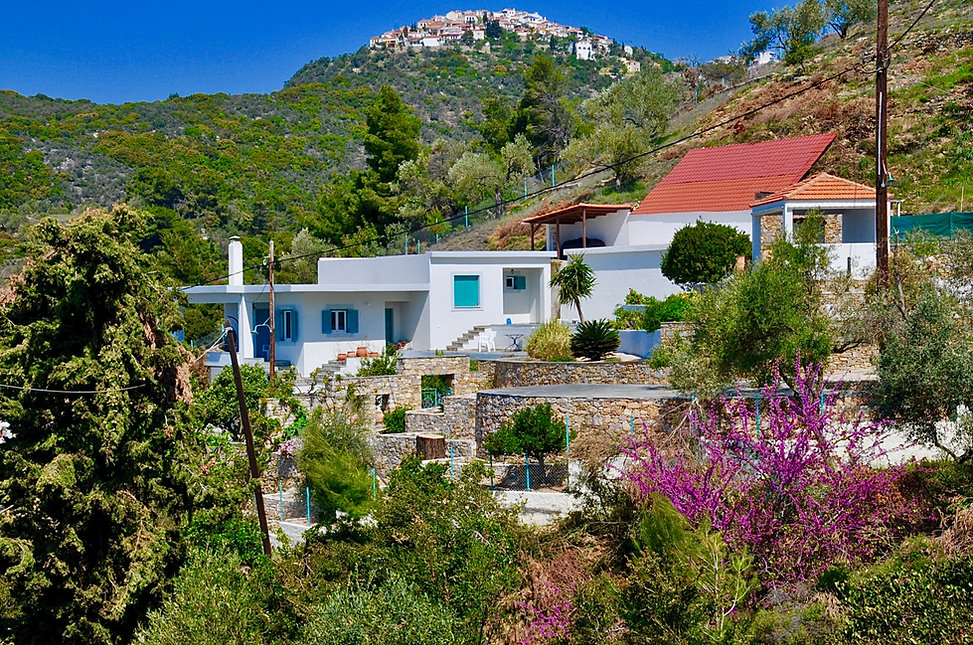 A modern villa with Alonissos village in the background.