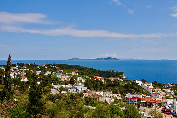 View of Patitiri, Alonissos and 'TheTwo Brothers' from the balcony..