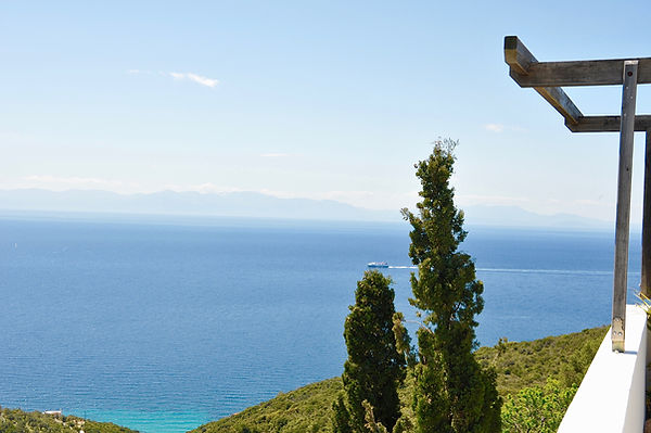 View across to mainland Greece from villa Eirene